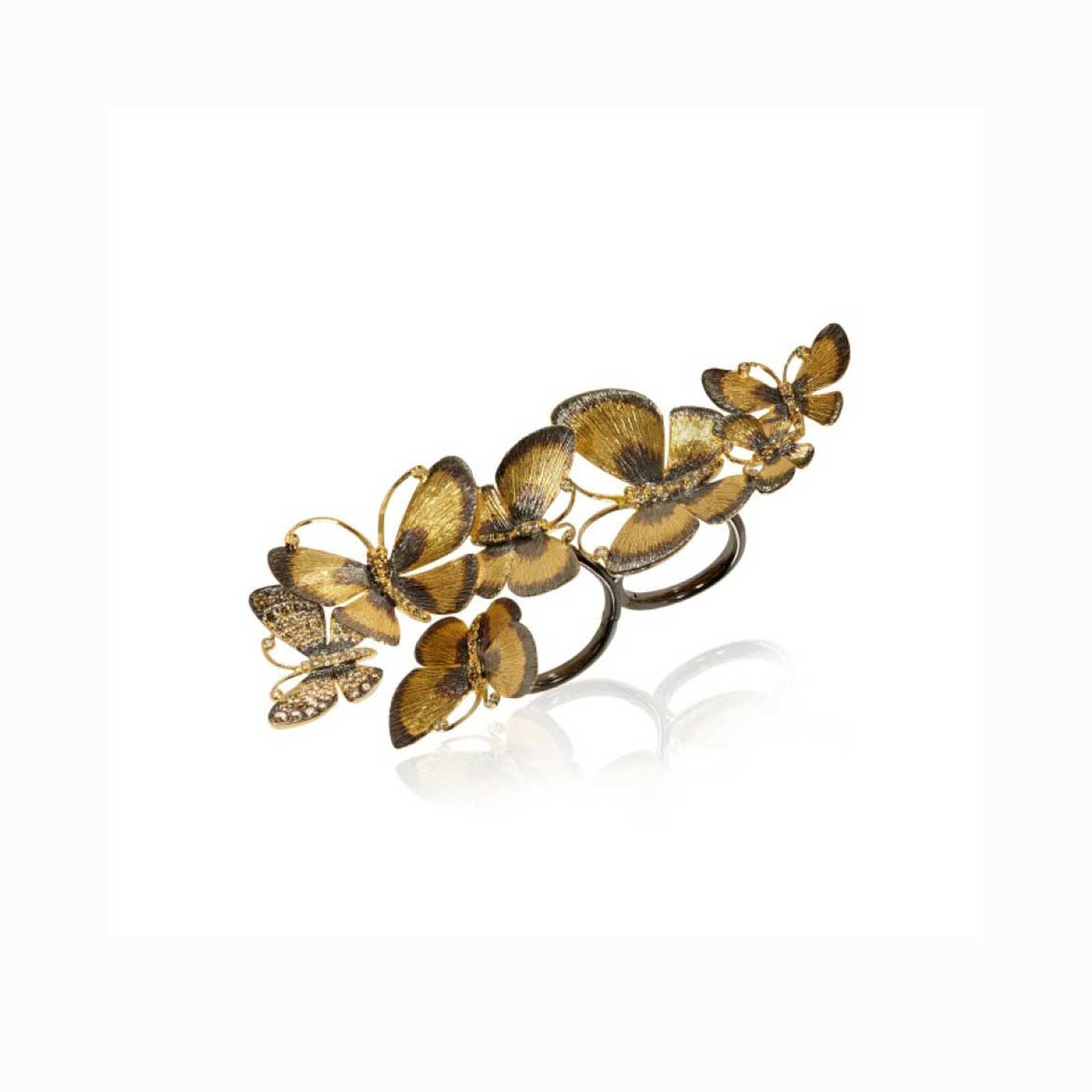 Annoushka 18ct yellow gold butterflies cocktail ring with diamonds