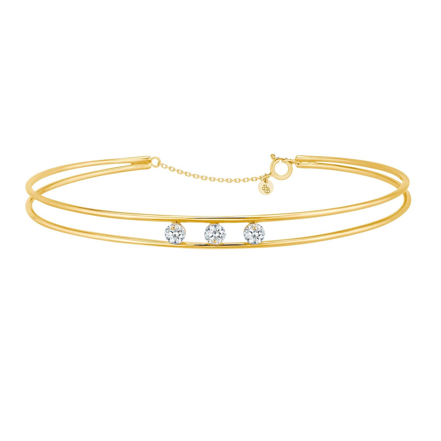 La Brune & La Blonde 360° double bangle with brilliant-cut diamonds in gold