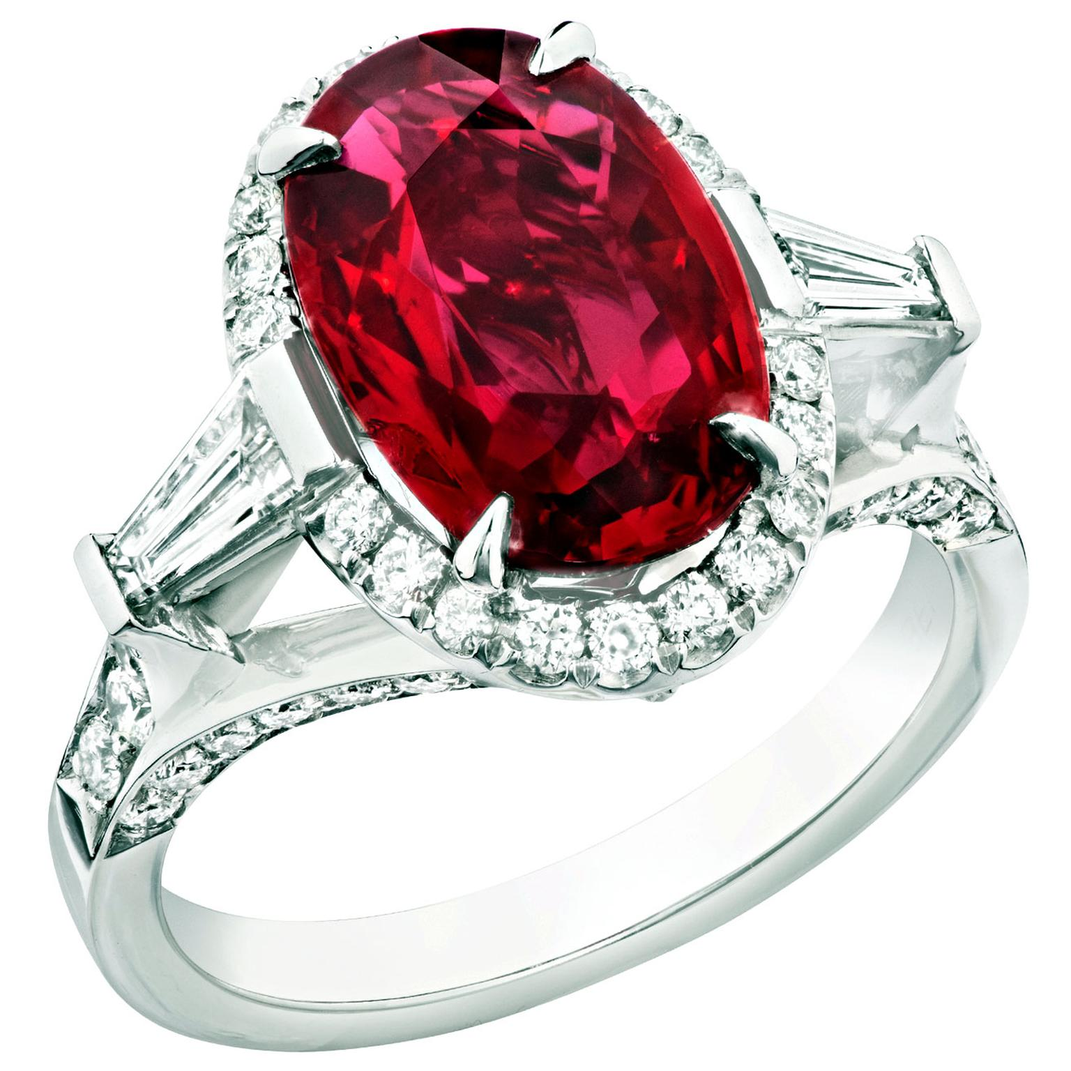 Fabergé oval-cut ruby ring