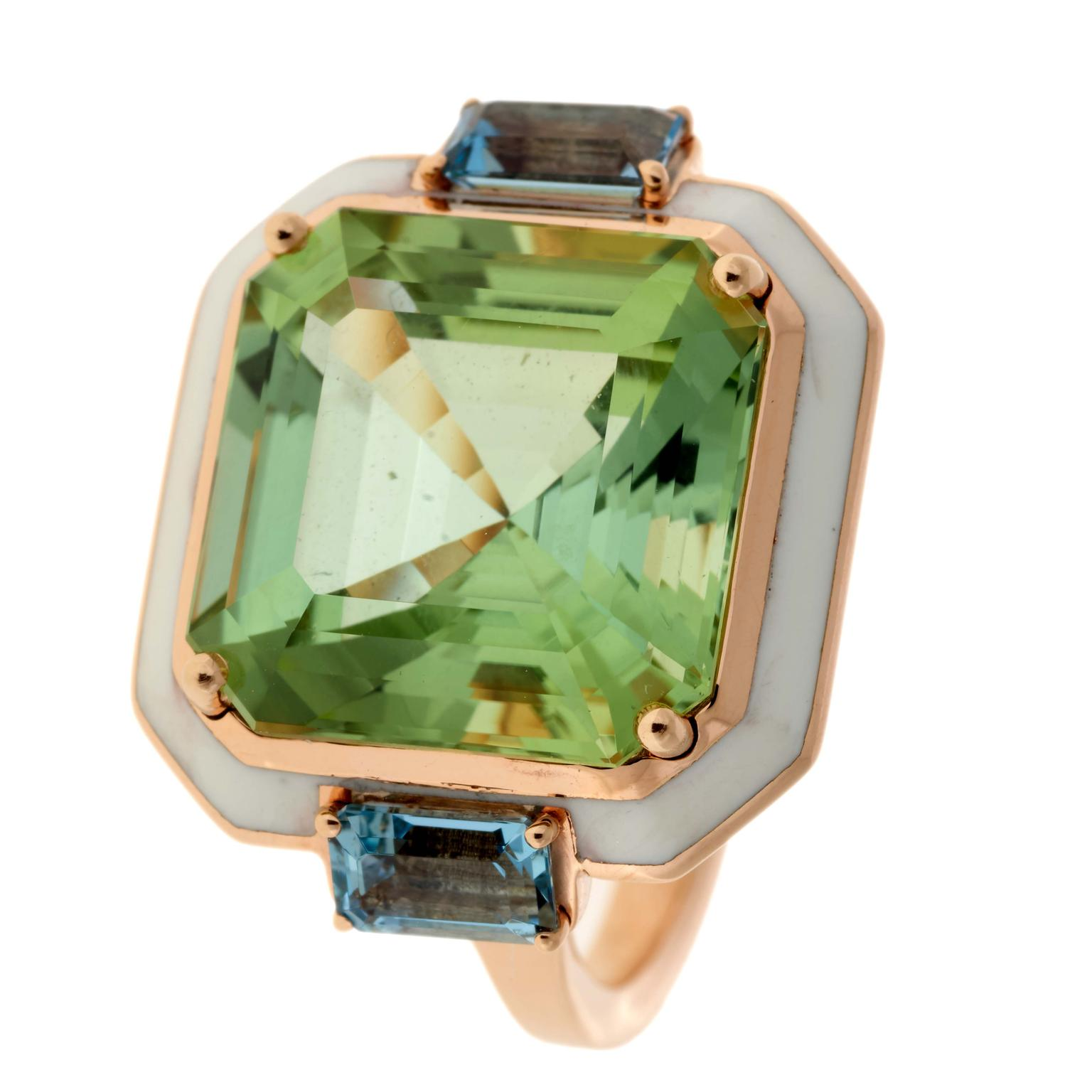 Tourmaline and Aquamarine cocktail ring from Selim Mouzannar