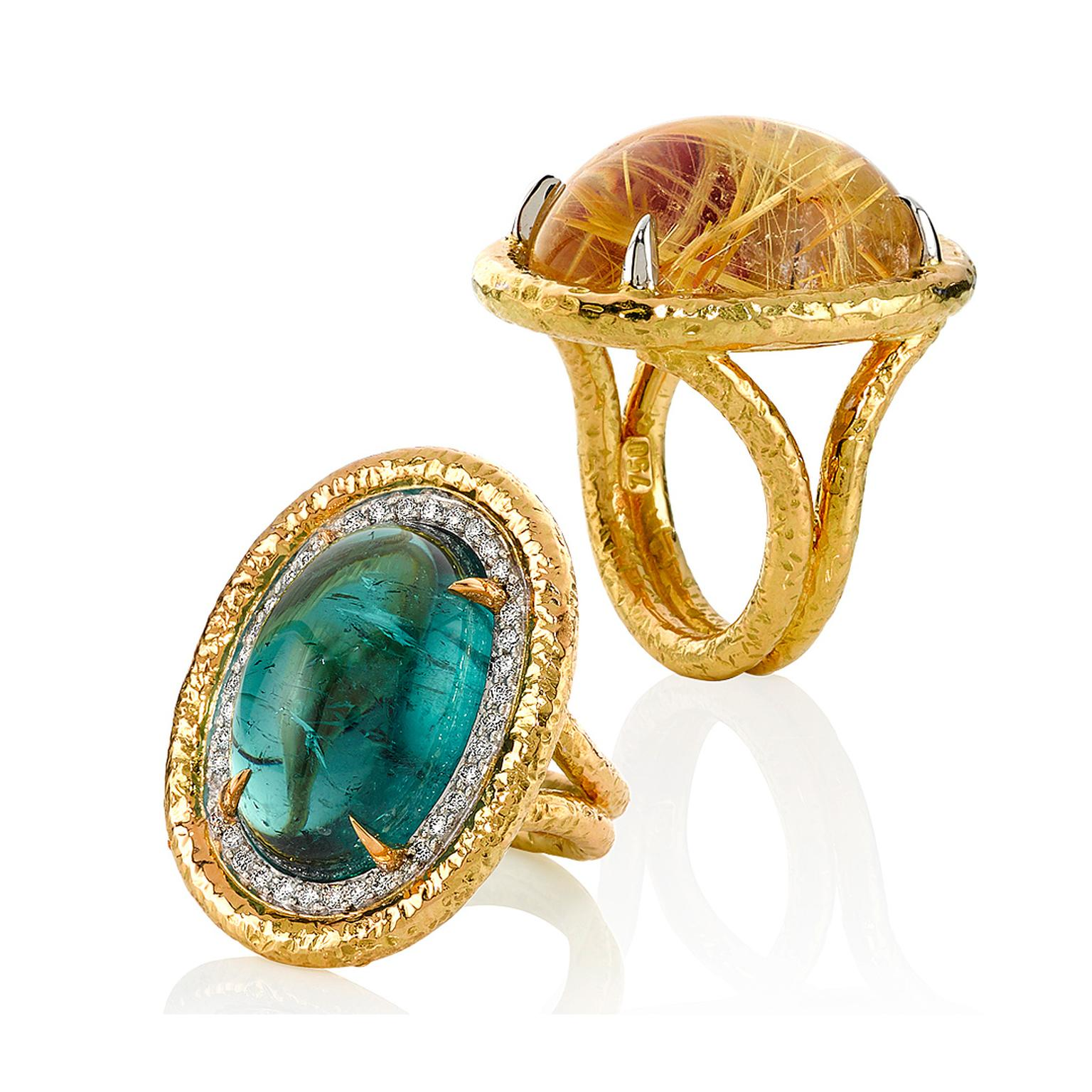 Mondial by Nadia Cabochon collection rings