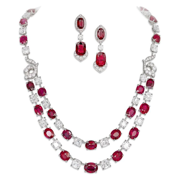 David Morris set comprised of ruby necklace and earrings