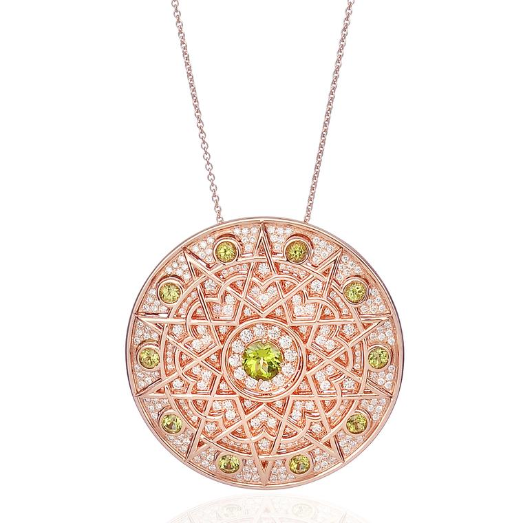 Lily Gabriella peridot and diamond rose gold Damali pendant