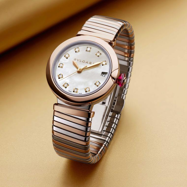 Bulgari Lvcea Tubogas 33mm stainless steel and 28mm stainless steel and diamond women's watch 2018 Price: €10,600