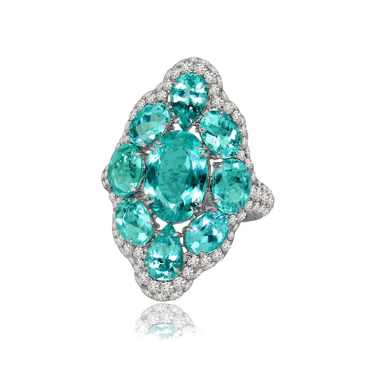 Paraiba tourmaline and diamond ring in white gold