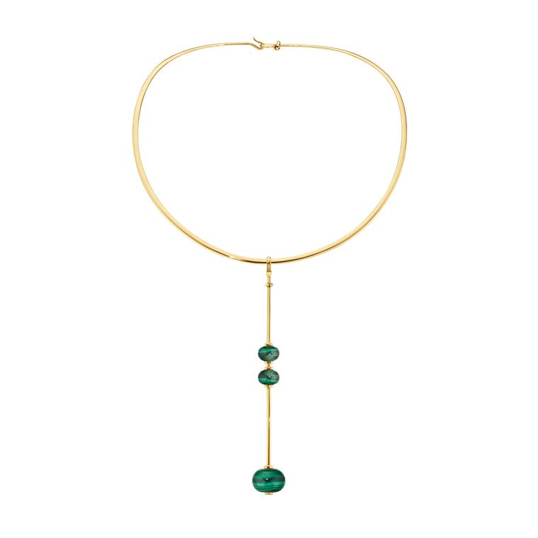 Runa malachite necklace in yellow gold