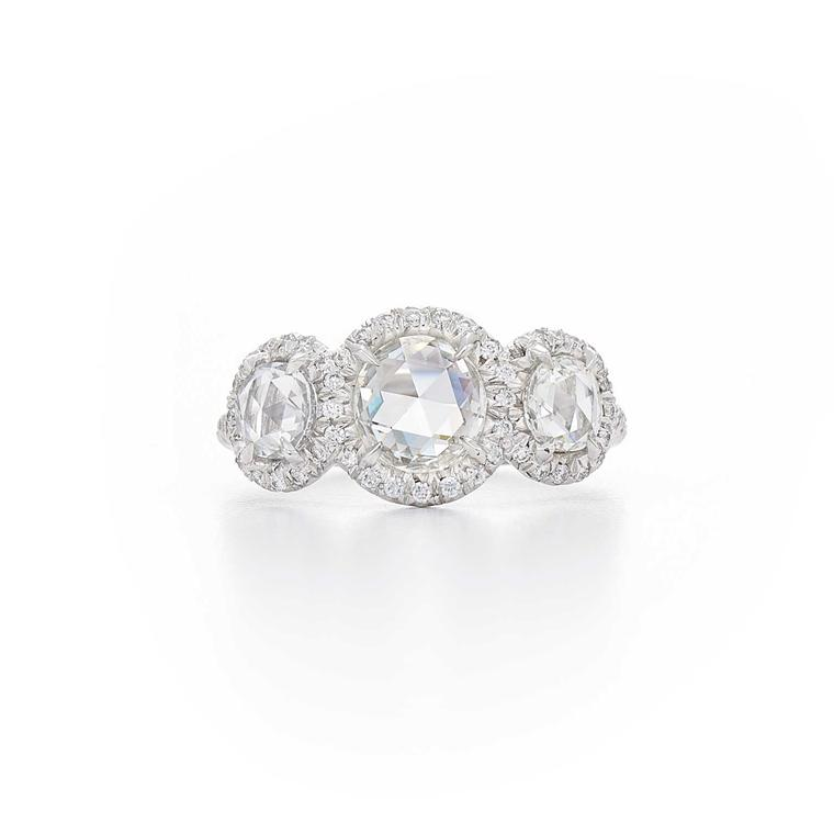 Fred Leighton three-stone, rose-cut diamond ring