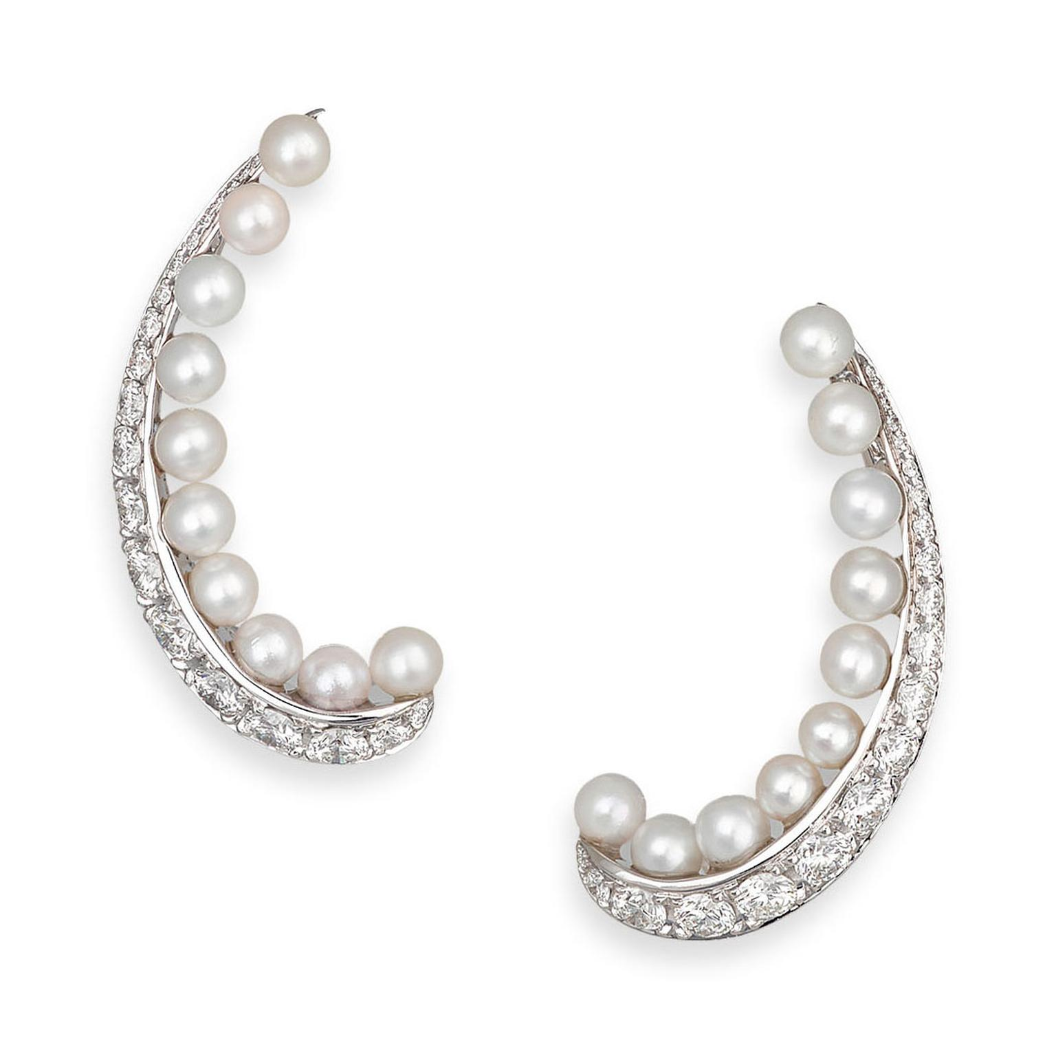 David Morris Pearl Rose Akoya Pearl ear cuffs