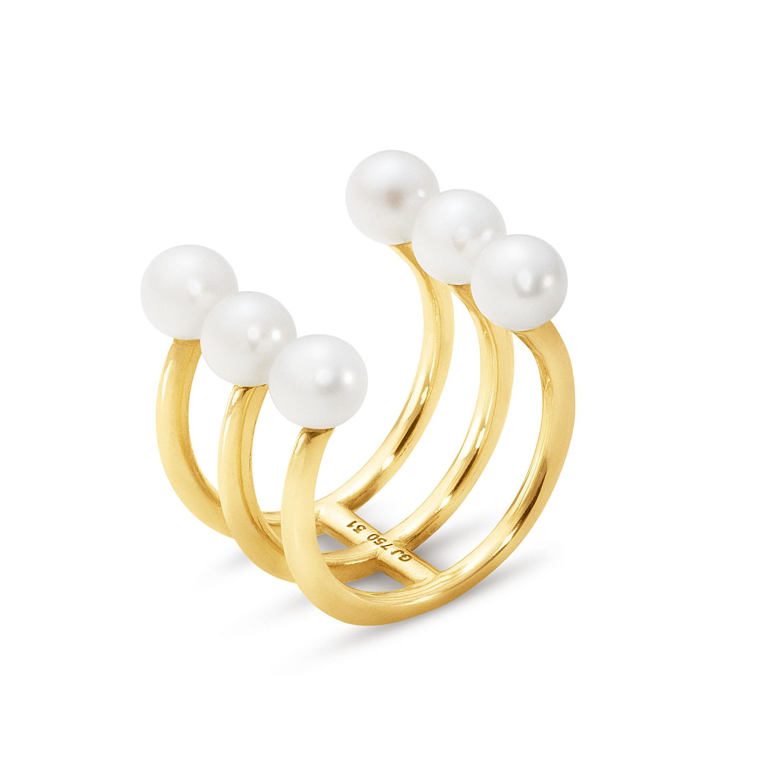 Georg Jensen Neva Collection 18ct yellow gold ring set with white cultured Freshwater pearls