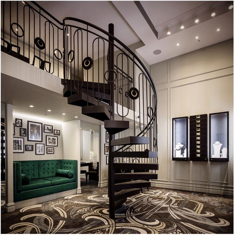 Mondial by Nadia curving staircase boutique