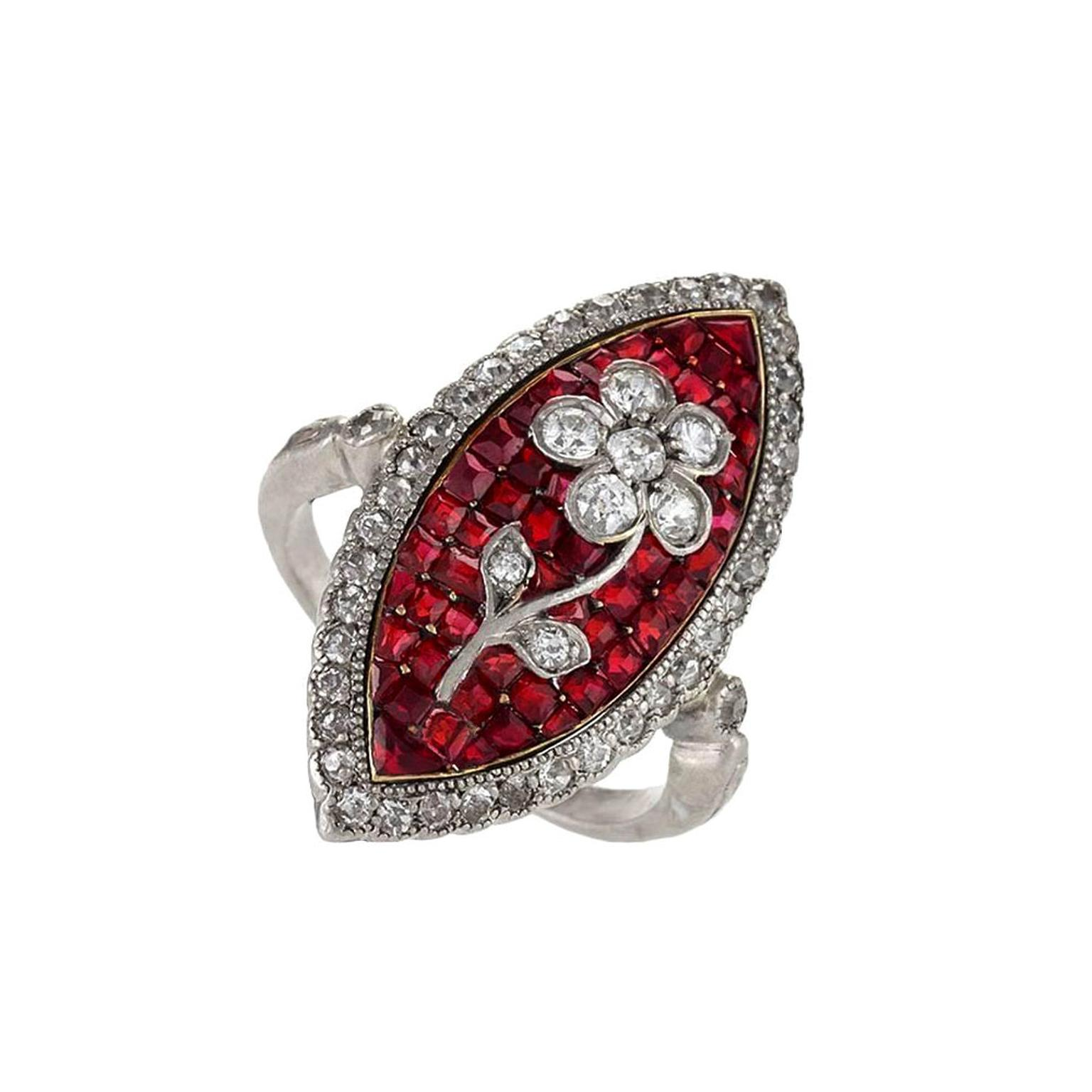 Macklowe Gallery diamond and ruby ring