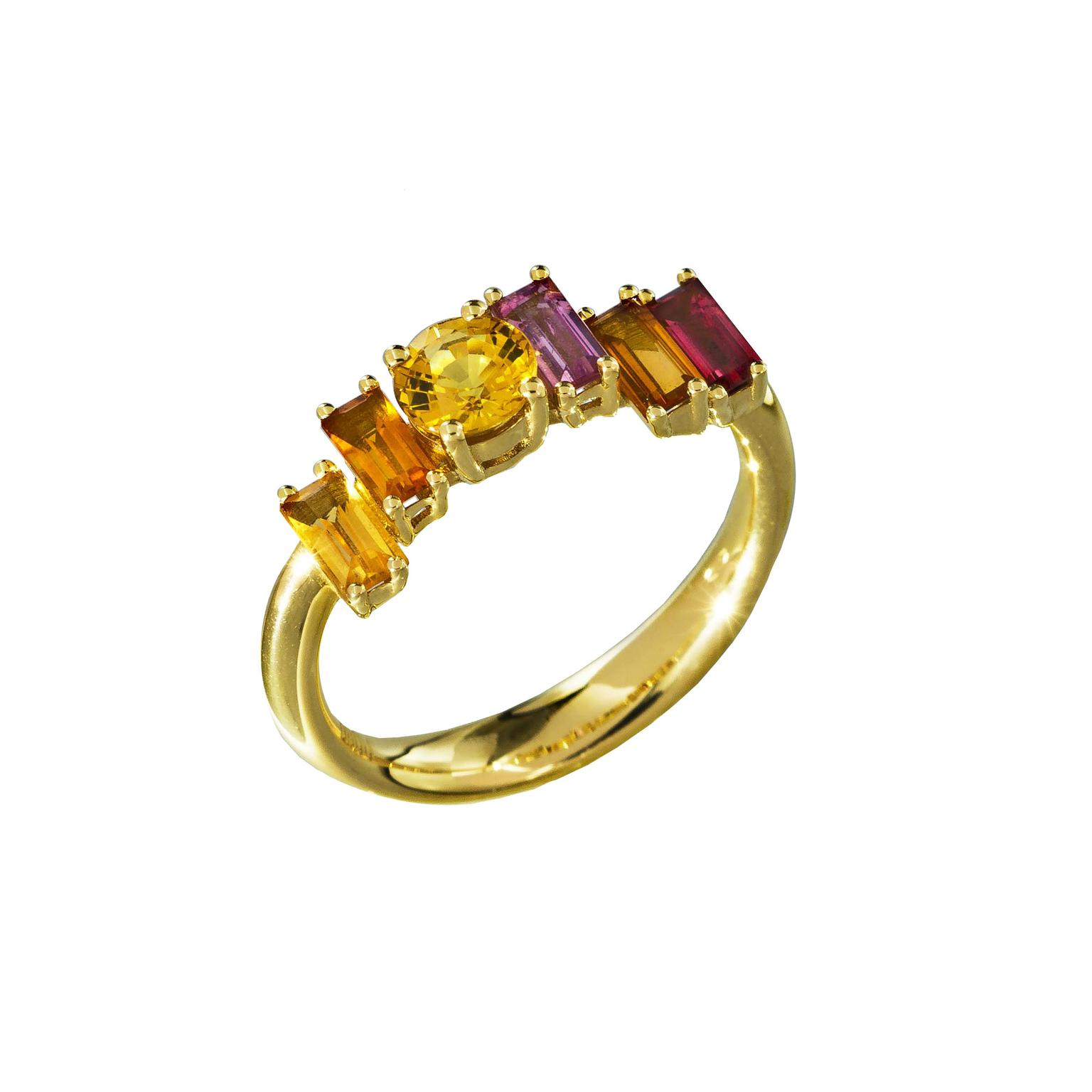 Daou Golden multicolour gemstone ring in yellow gold