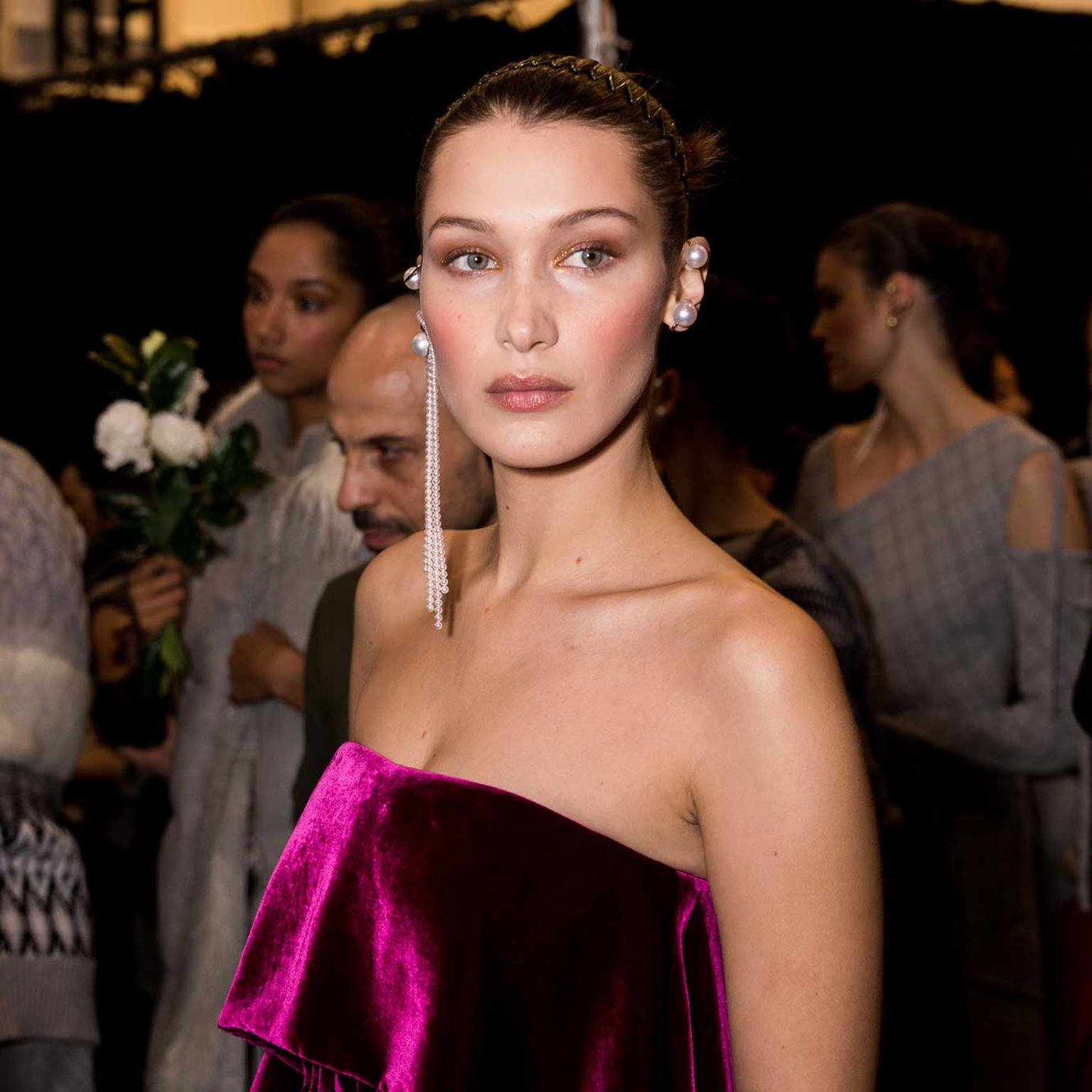 Bella Hadid in Tasaki earrings. Photo credit Darpan-Udas