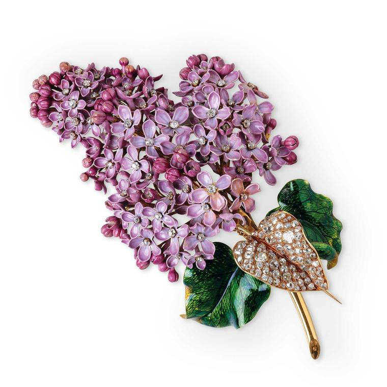 Mellerio dits Meller naturalistic lilac brooch dating from 1862
