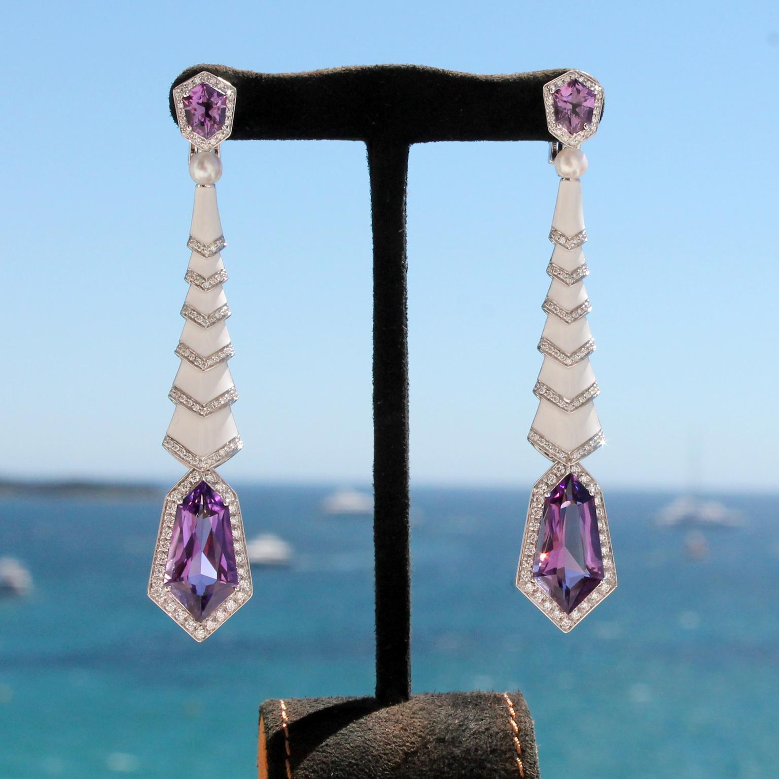 Avakian amethyst and white enamel earrings