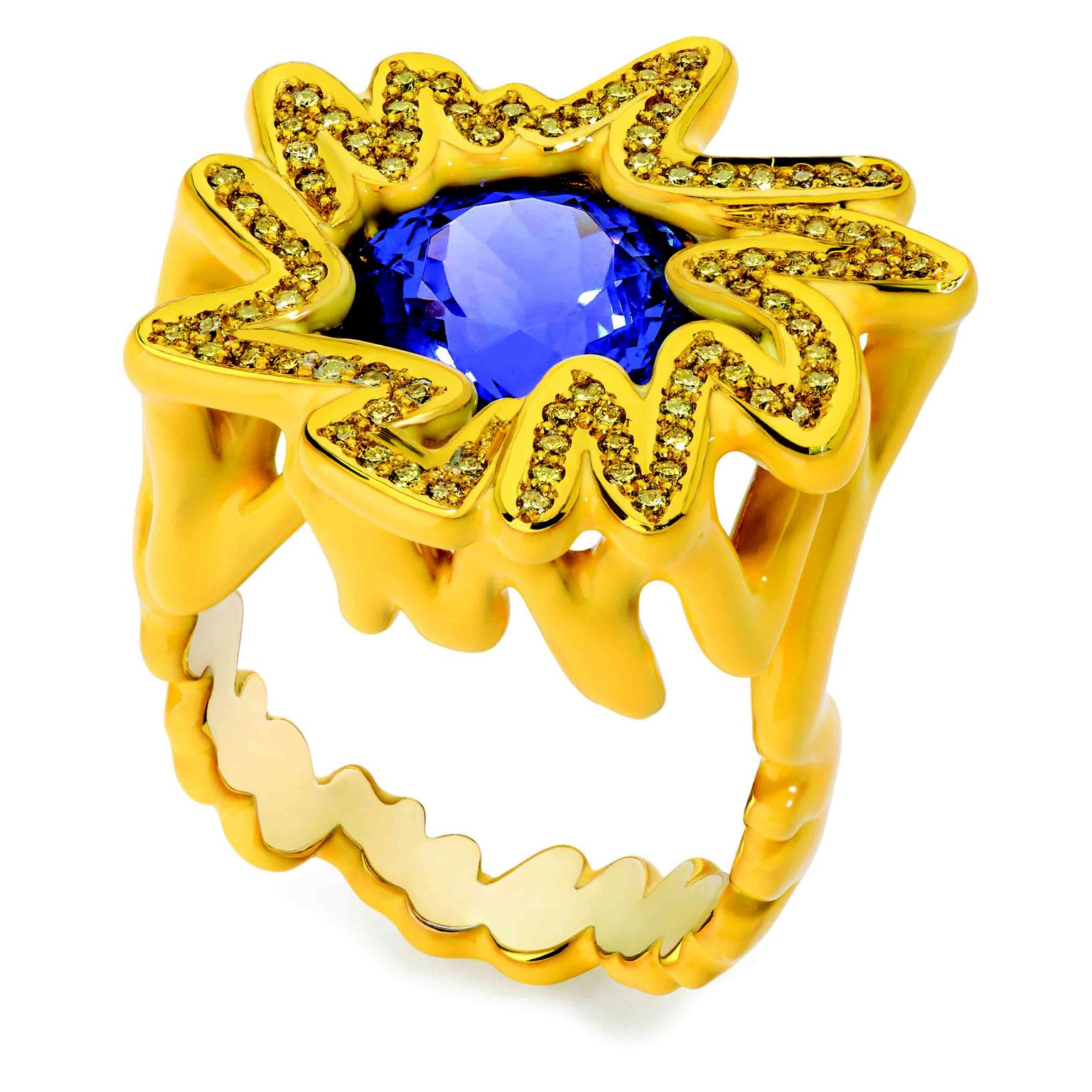 Solange Azagury-Partridge Scribbles Blue & Yellow Ring