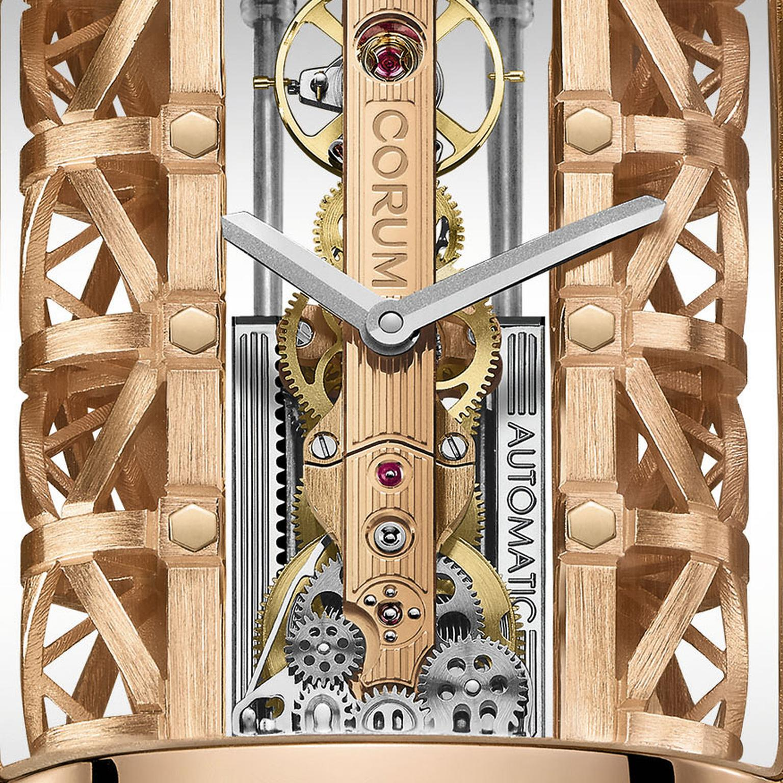 Corum Golden Bridge Stream close up of automatic movement