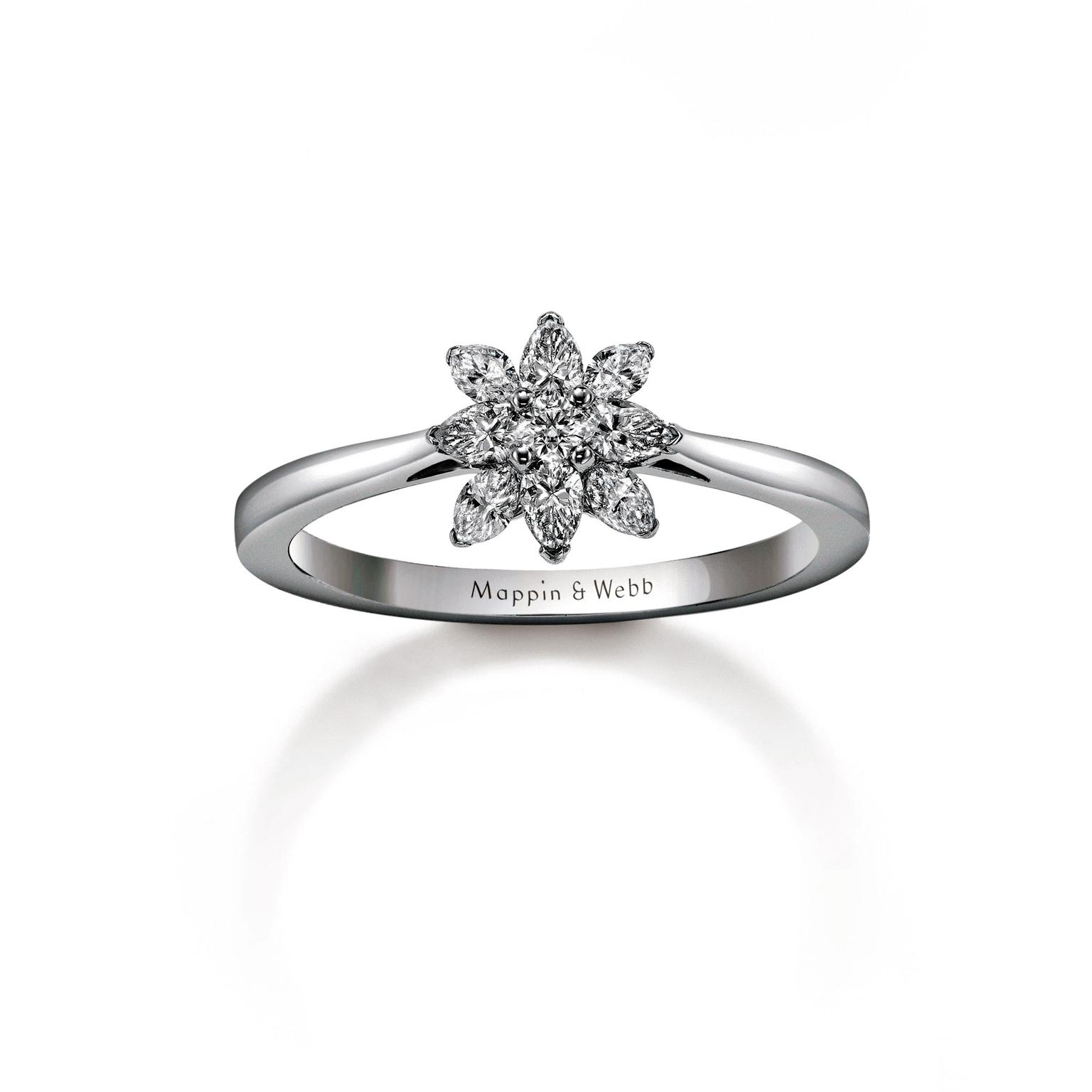 Mappin & Webb Aster ring with marquise-cut diamonds