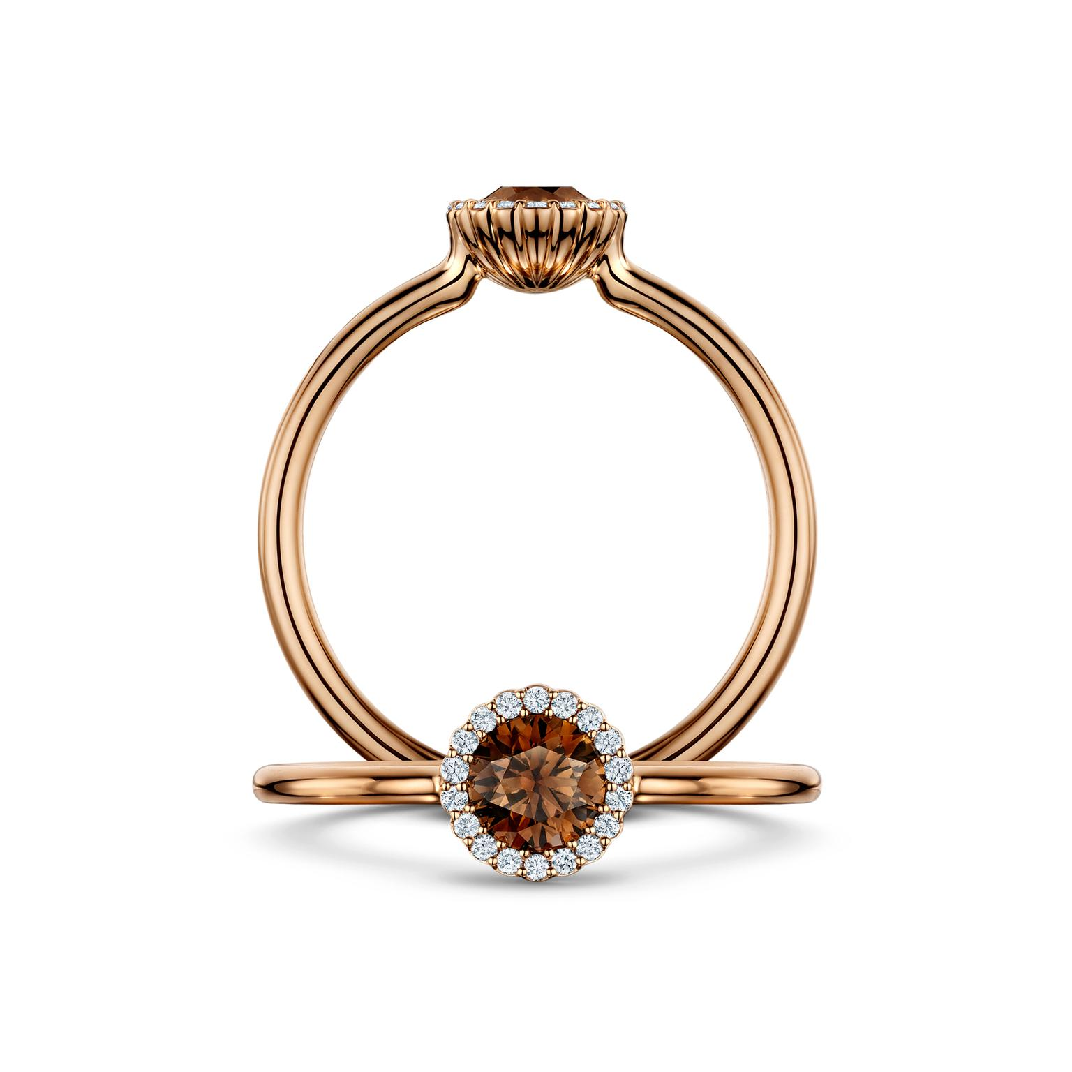 Andrew Geoghegan Cannelé chocolate coloured diamond ring