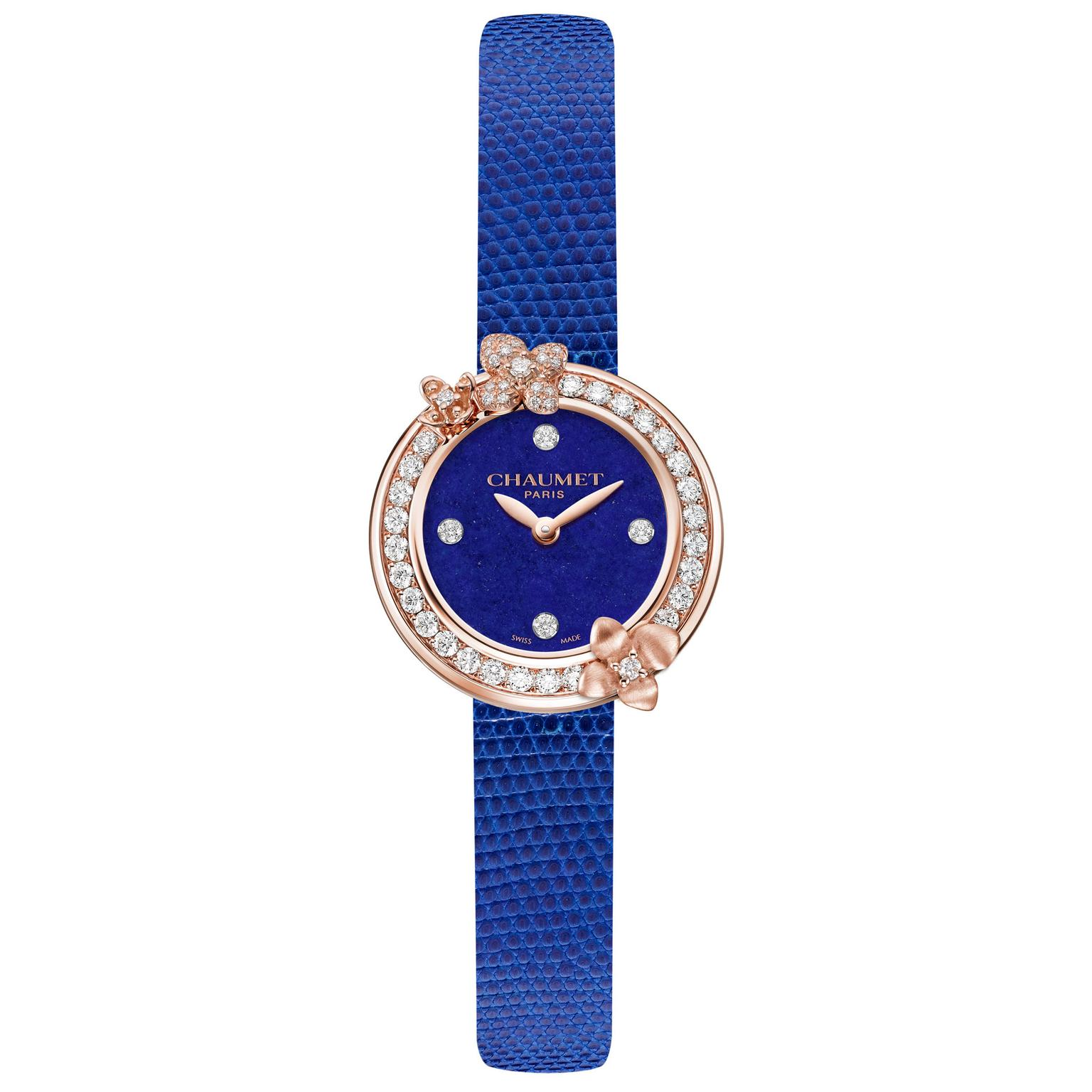 Chaumet Hortensia Eden watch with lapis lazuli dial