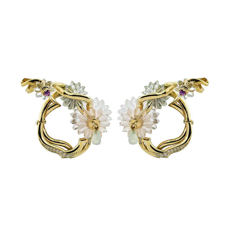 Alice Cicolini Summer Snow rock crystal and rose quartz earrings