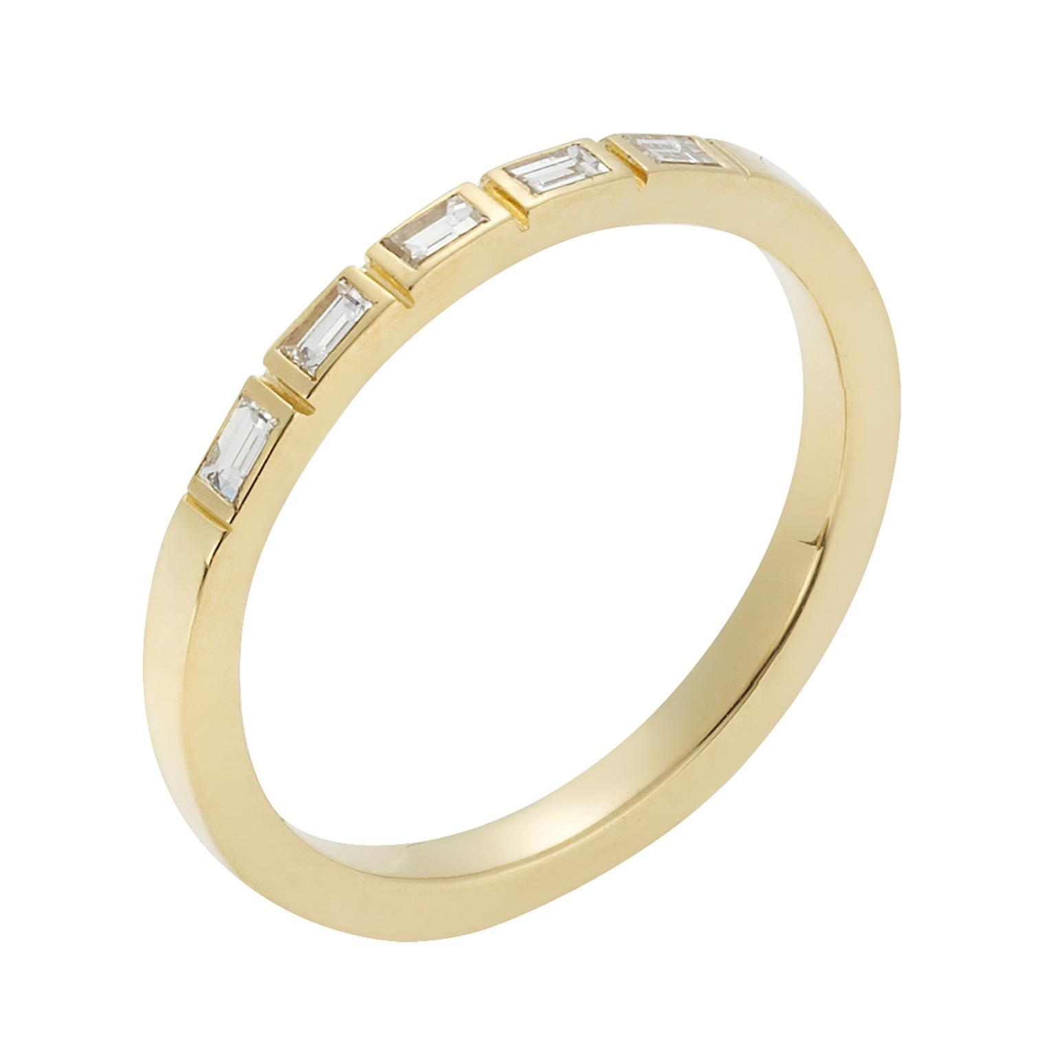 Ileana Makri yellow gold eternity ring with baguette diamonds