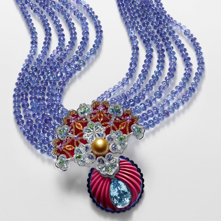 Chopard tanzanite and aquamarine necklace from Red Carpet collection 2018