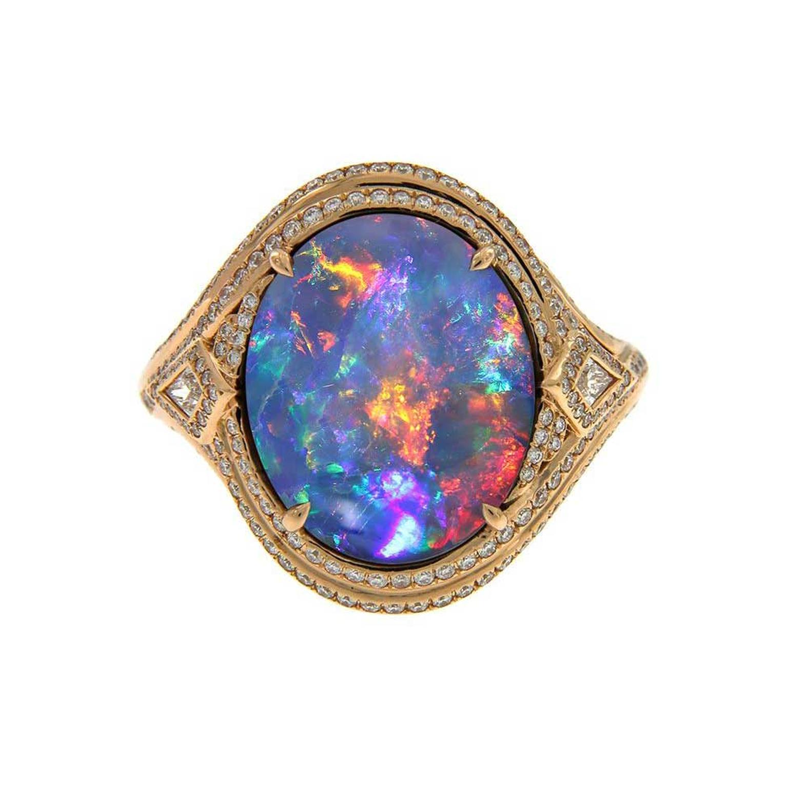 Kat Florence Lightning Ridge black opal ring