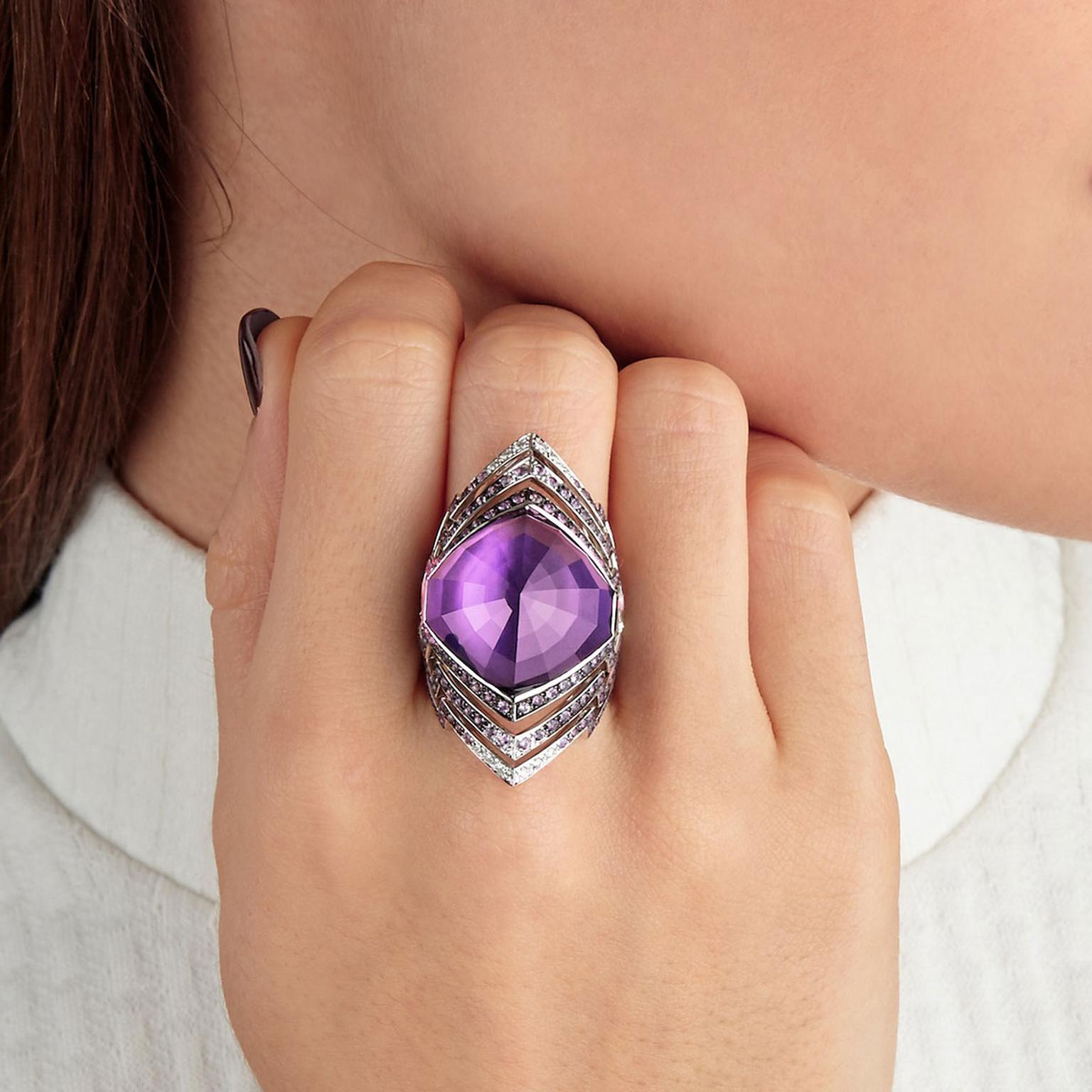 Stephen Webster amethyst and diamond ring