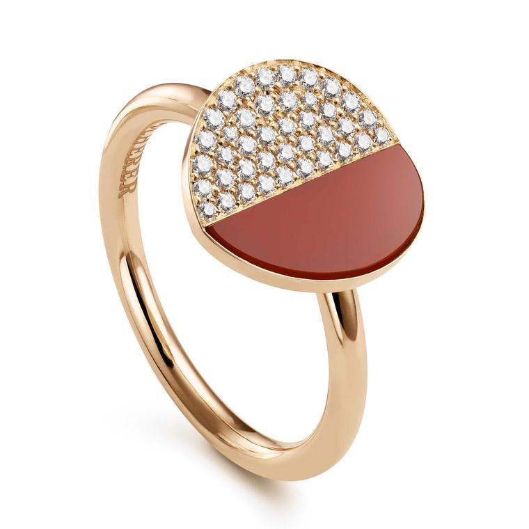 Bucherer B Dimension ring with diamonds and carnelian in rose gold Price £1450