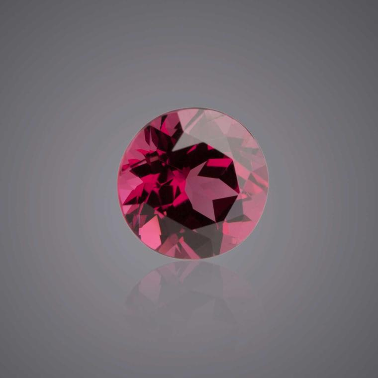 Hermann Lind faceted round rhodolite garnet
