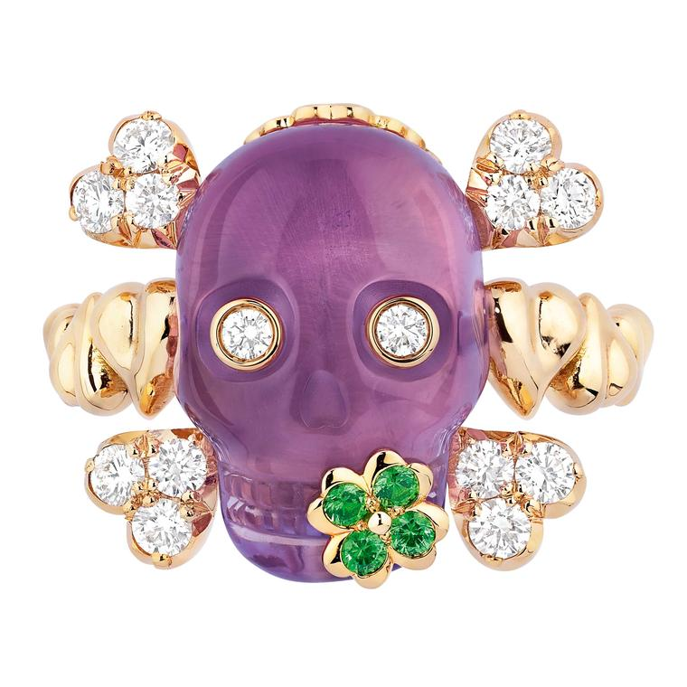 Dior Tete de Mort amethyst ring front view Price £7650
