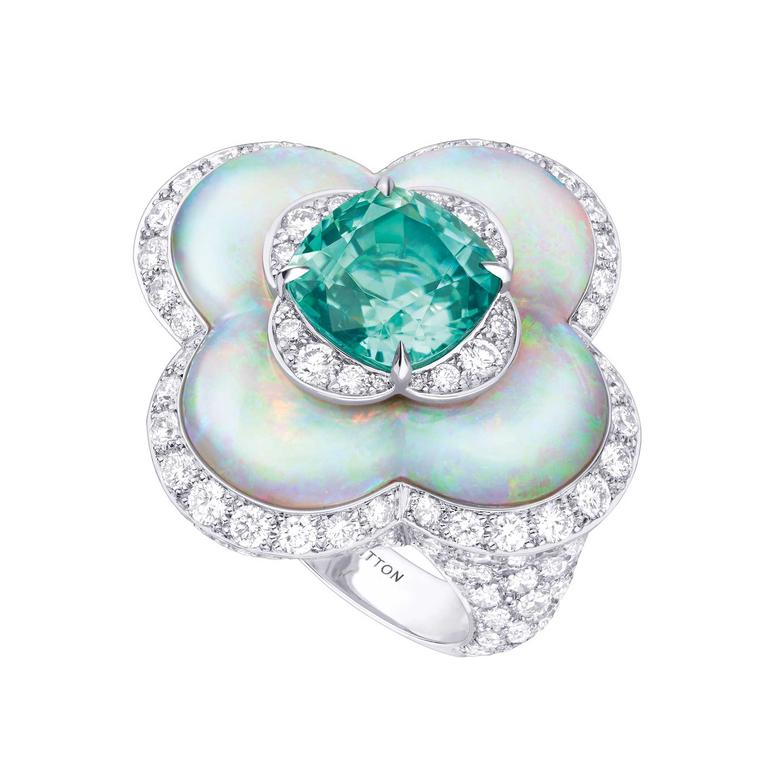 Blossom high jewellery opal and tourmaline ring