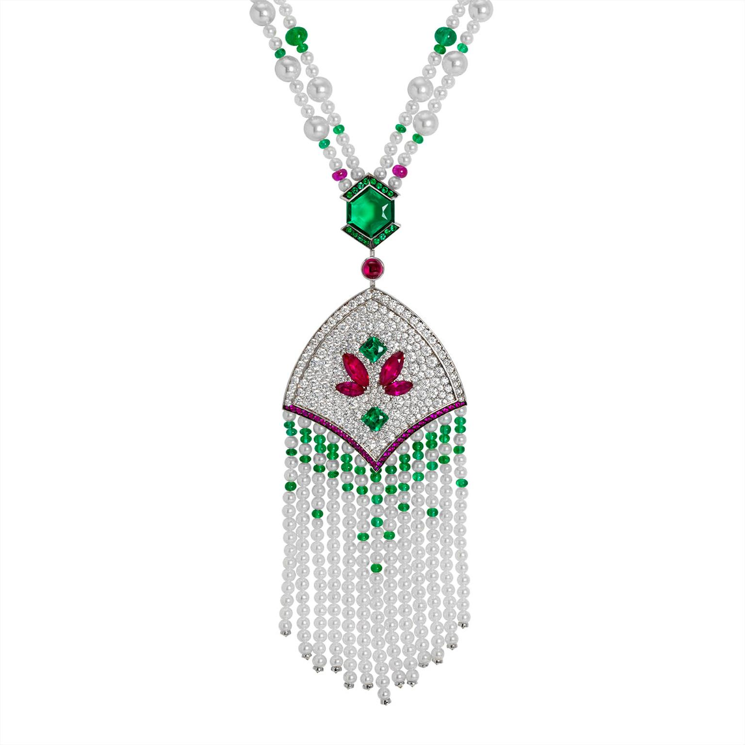 John Rubel diamond, emerald, pearl and ruby necklace