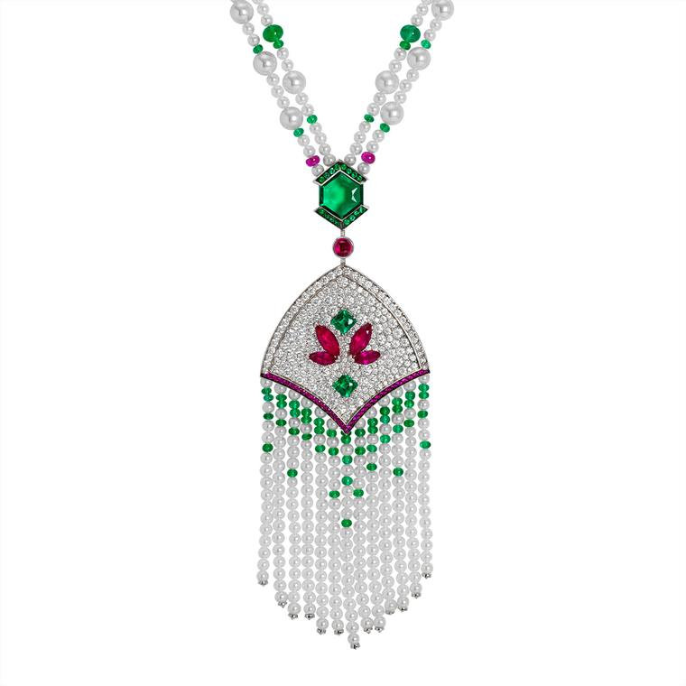 Mistinguett pearl, emerald, ruby and diamond pendant