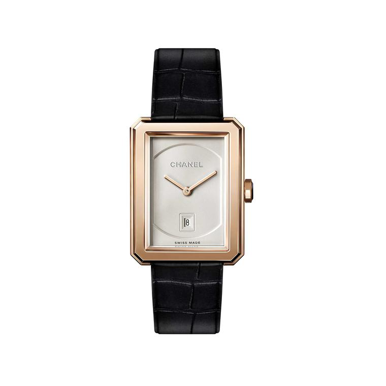 Chanel Boyfriend beige gold quartz watch with date window