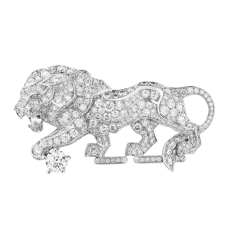 Chanel's new L'Esprit du Lion high jewellery collection features four brooches including the 'Timeless' pin set with a dazzling 314 brilliant-cut diamonds.