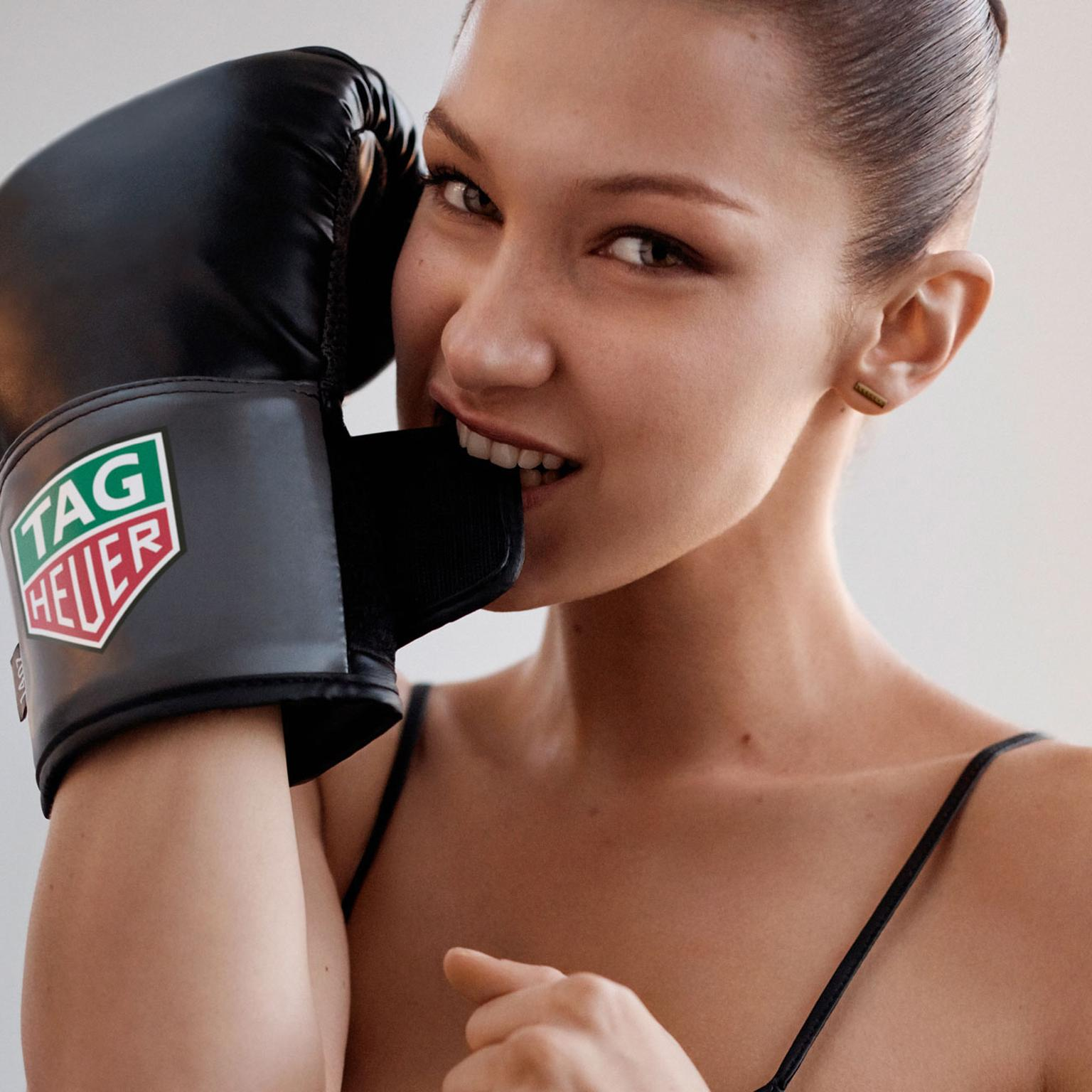 Bella Hadid models for TAG Heuer