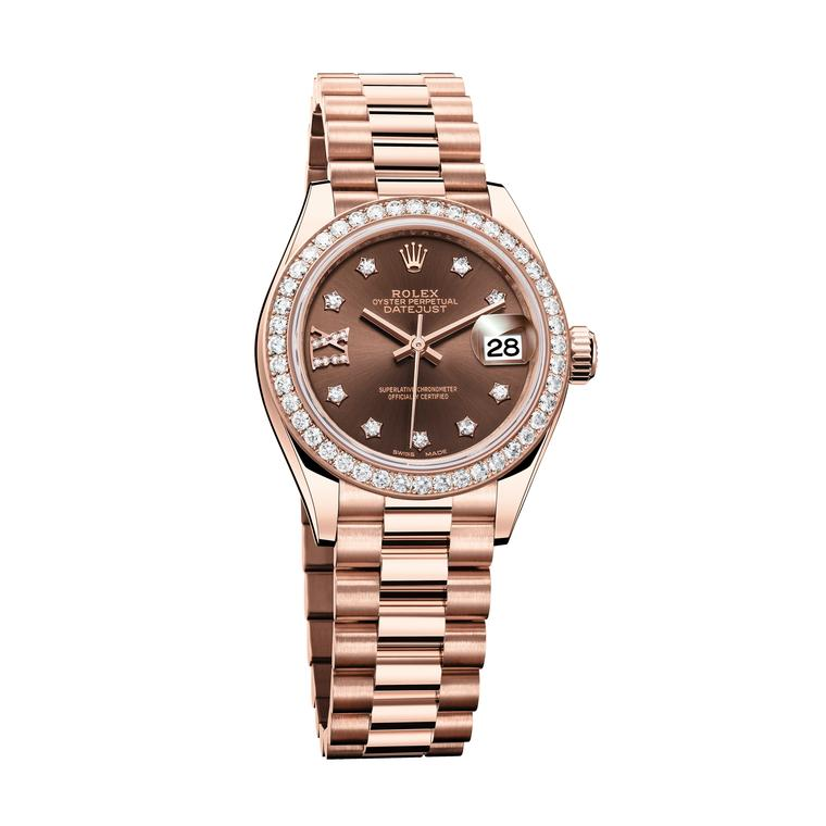 Rolex Lady-Datejust 28mm Everose gold and diamonds