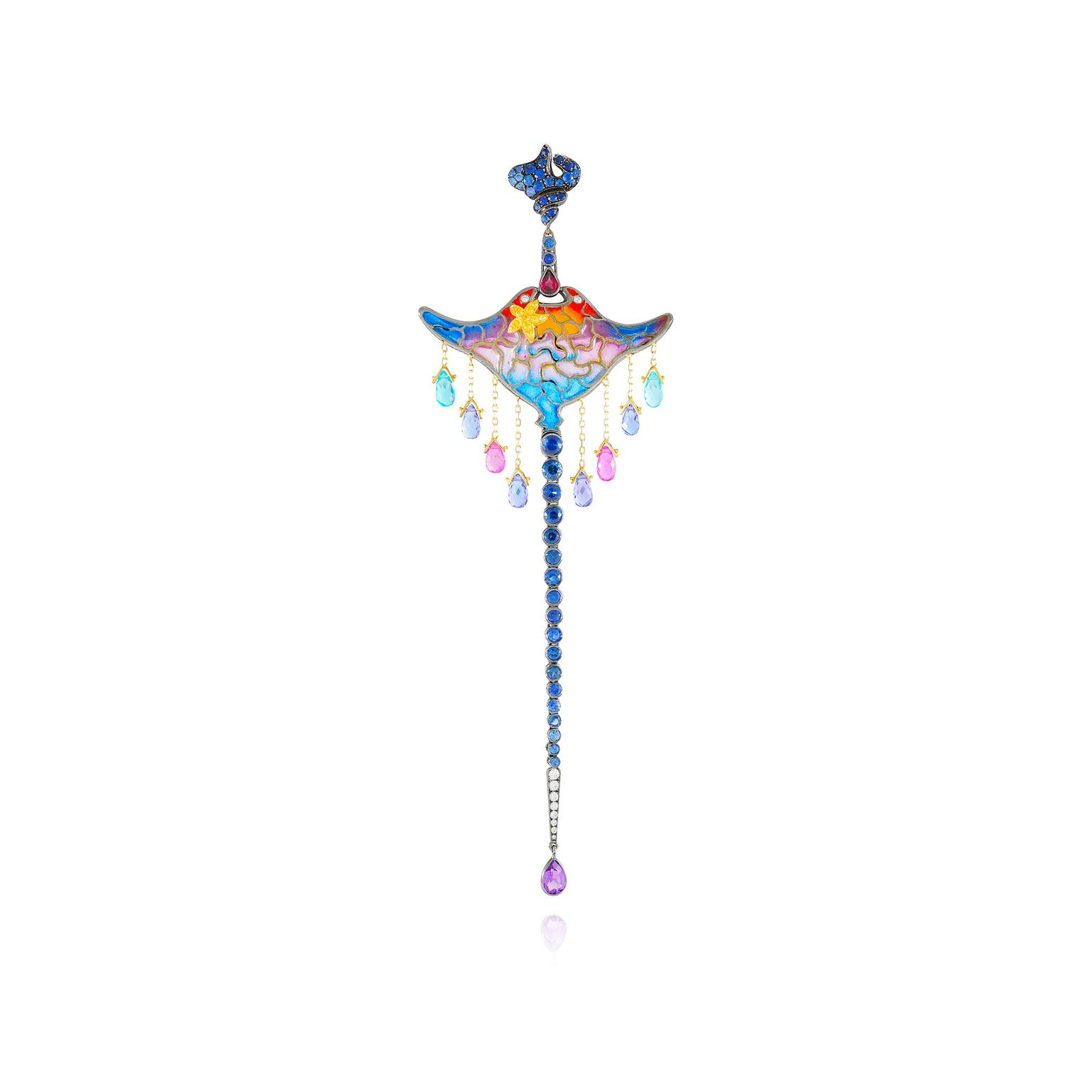 Lydia Courteille Kite Collection single earring in yellow gold with coloured gemstones and enamel