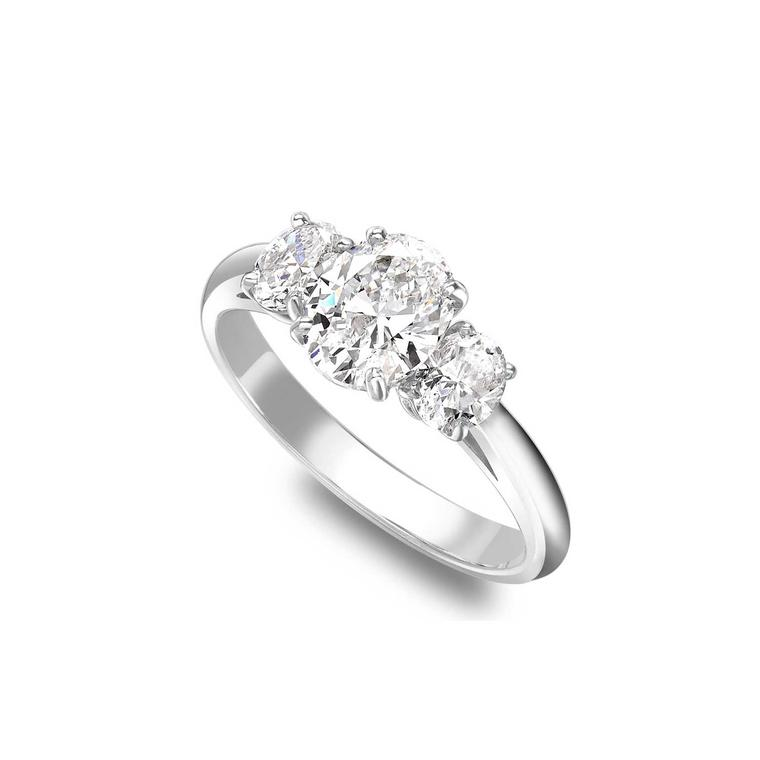 William & Son three stone engagement ring