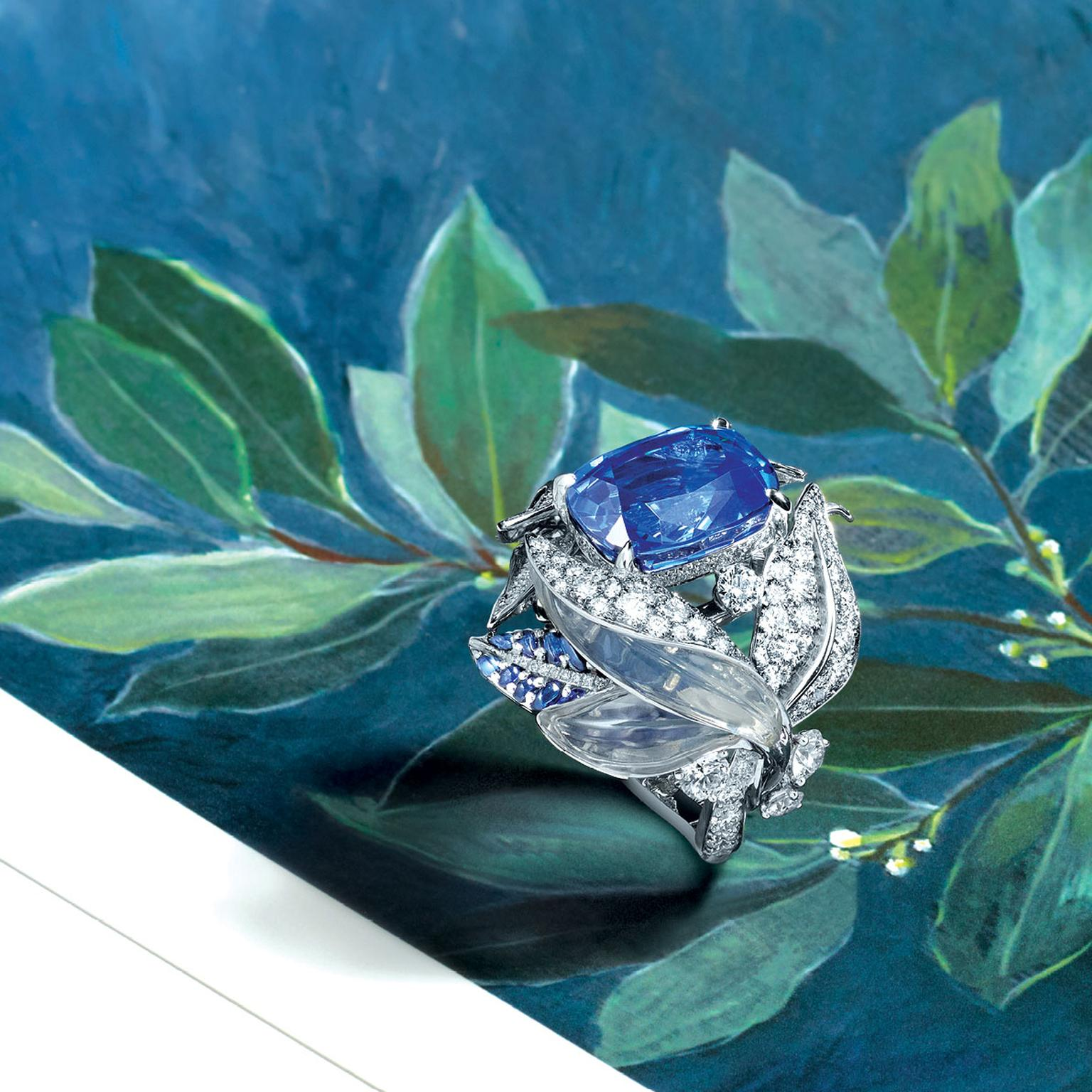 Chaumet's La Nature de Chaumet sapphire and moonstone Laurel ring