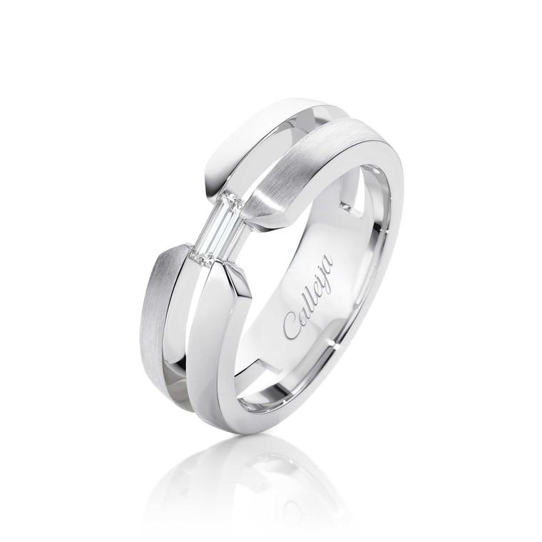 Calleija baguette-cut diamond men's wedding ring