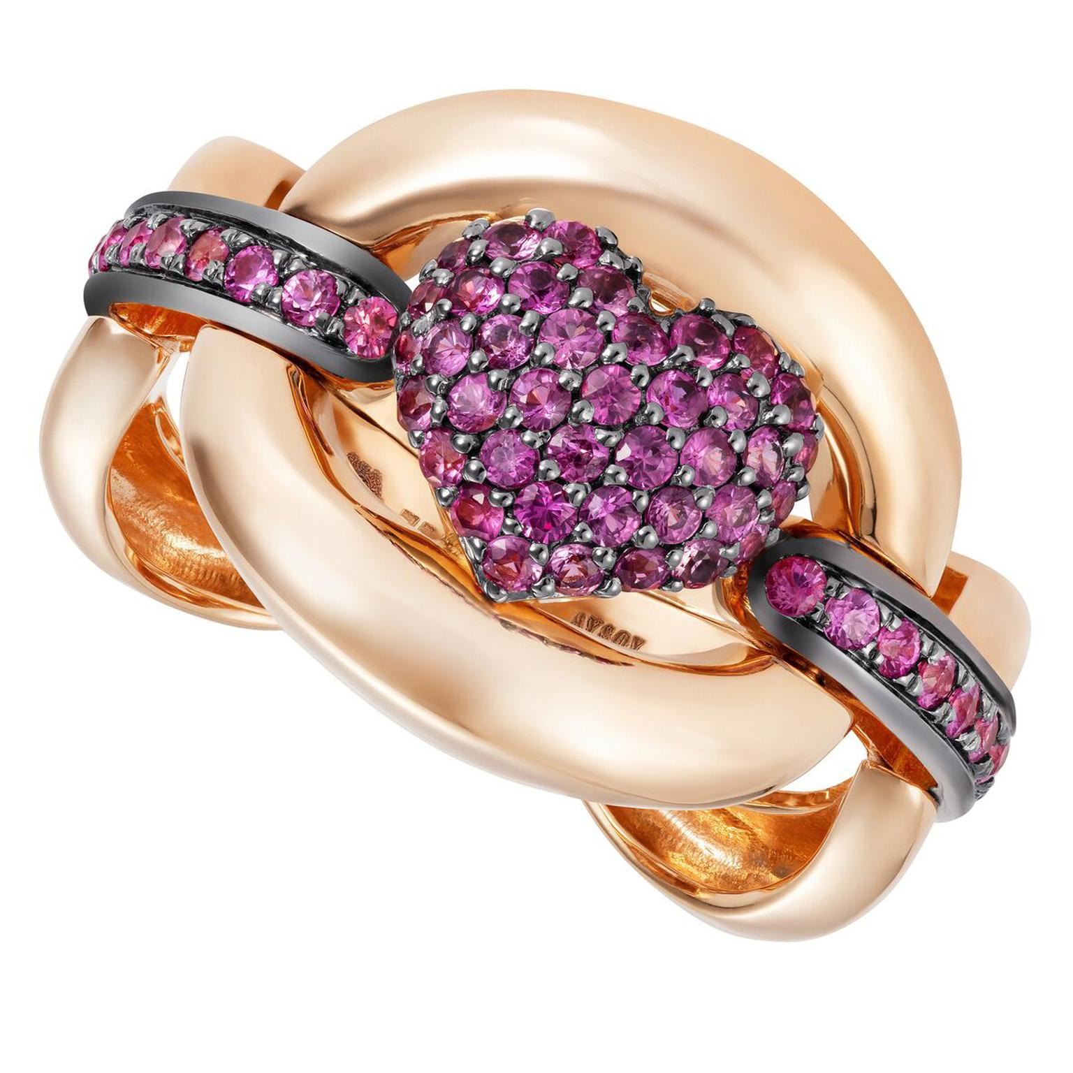 NAdine Aysoy RING HEART PINK SAPPHIRE, 18K Rose Gold (12.30g)  + Pink Sapphire Stone 0.85 CT, $4940