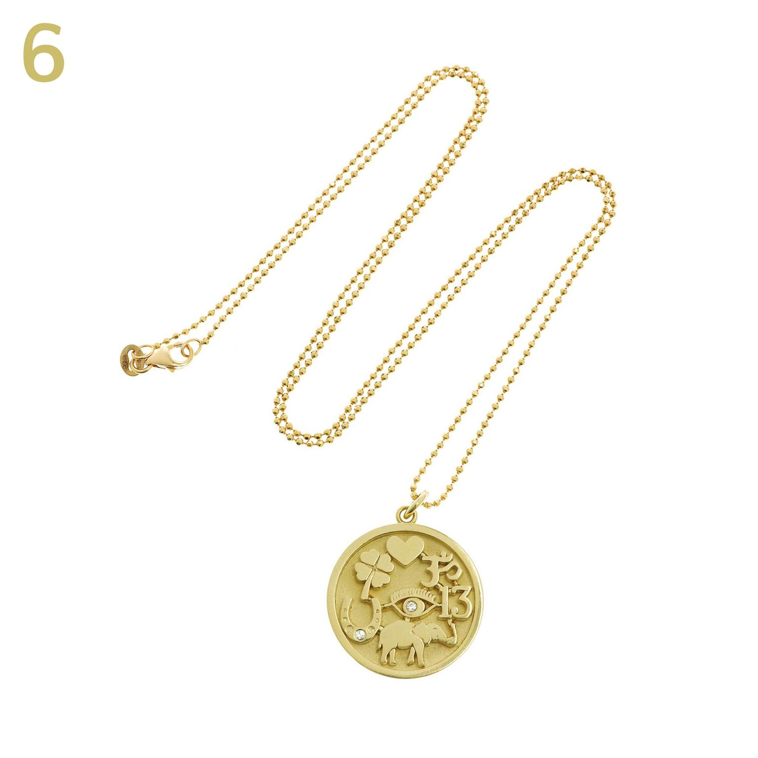Jennifer Meyer Good Luck gold and diamond pendant