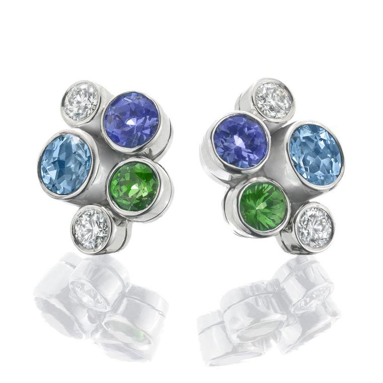 Boodles tsavorite, aquamarine, tanzanite and diamond earrings