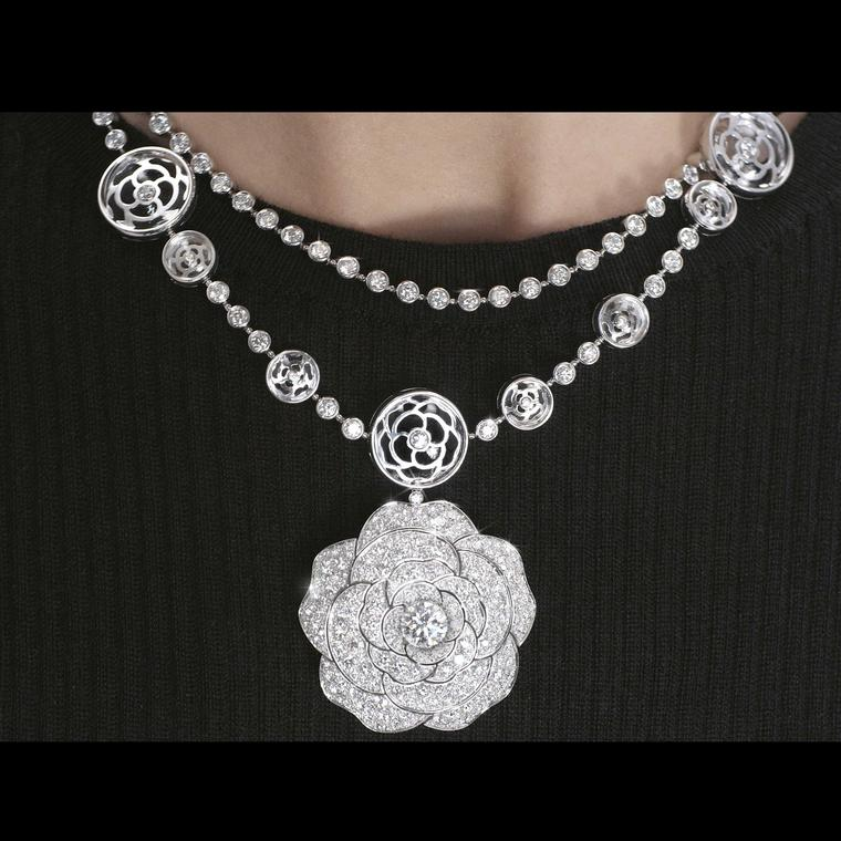 Chanel 1 5 Cristal Illusion white gold and diamond necklace double row