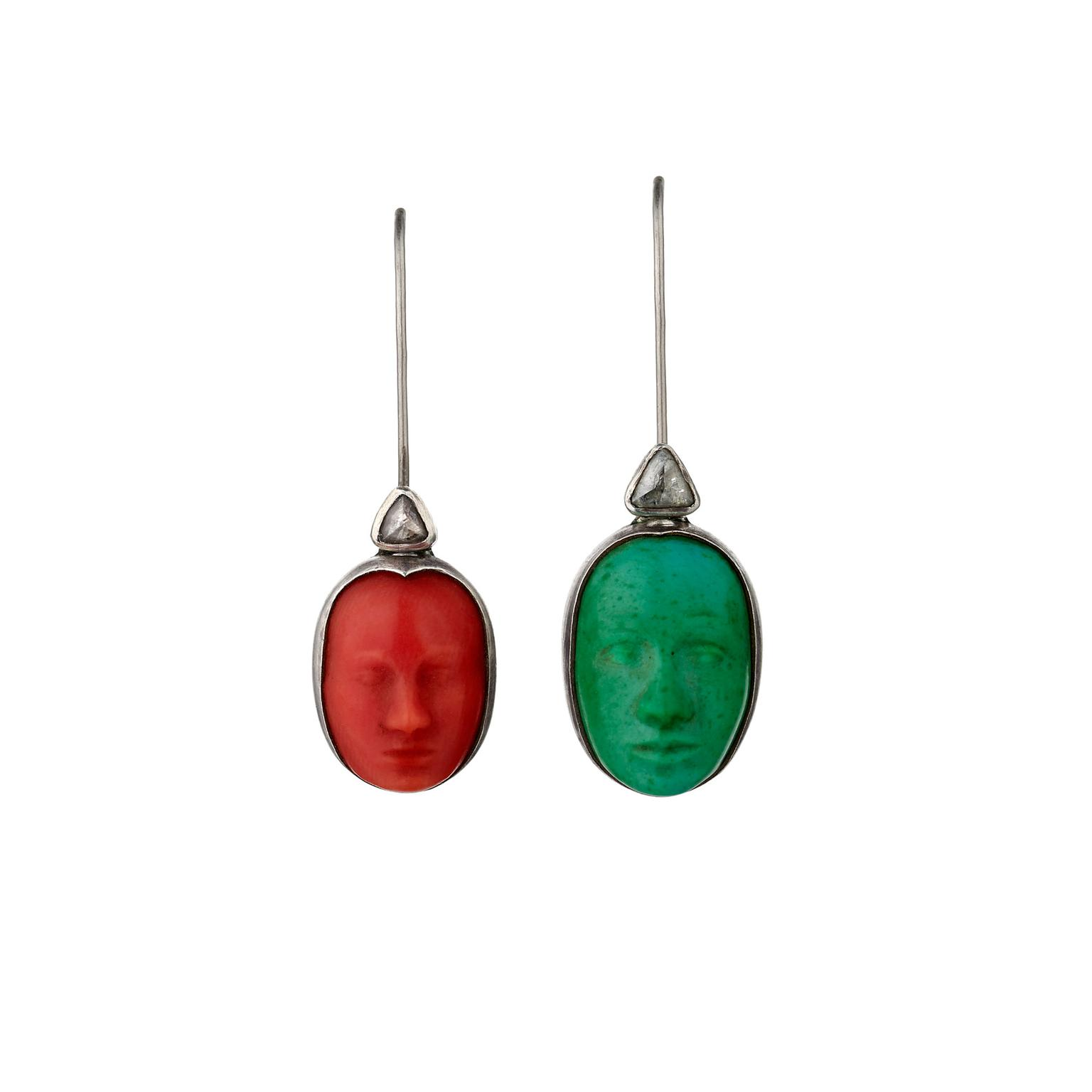 Charlotte De Syllas coral, turquoise and rough diamond earrings