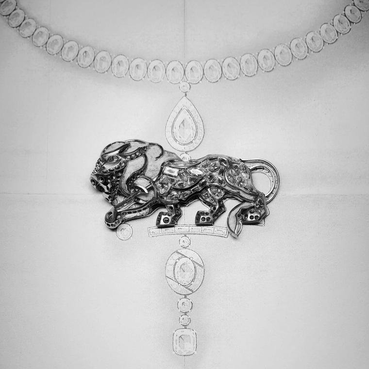 Chanel Lion Commanding sketch of brooch