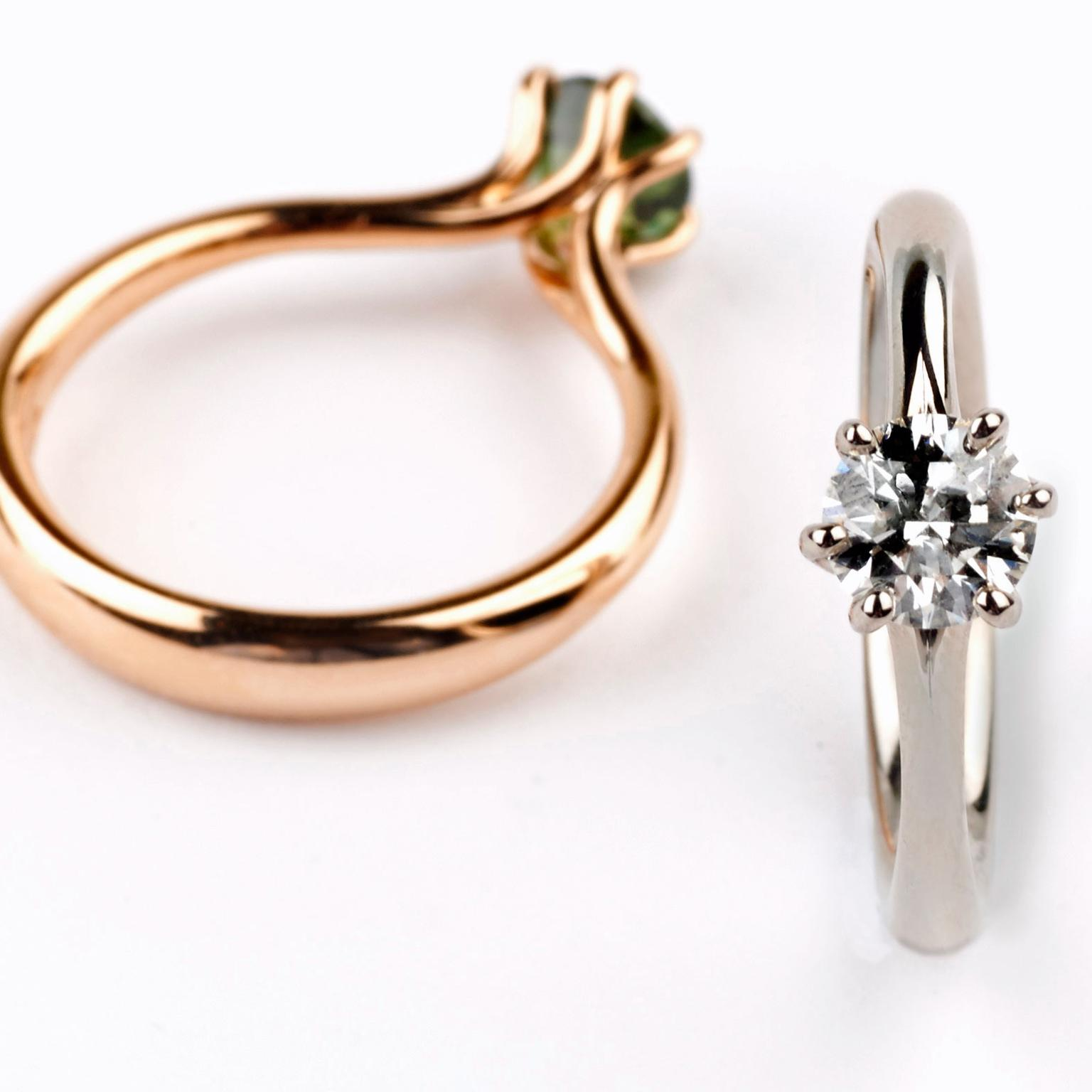 Jon Dibben Winter Meadow engagement-rings in Fairtrade gold